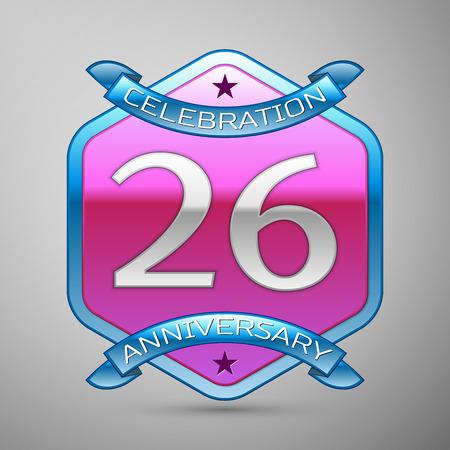 twenty six: Twenty six years anniversary celebration silver logo with blue ribbon and purple hexagonal ornament on grey background.