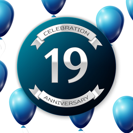 nineteen: Silver number nineteen years anniversary celebration on blue circle paper banner with silver ribbon. Realistic blue balloons with ribbon on white background. Vector illustration.
