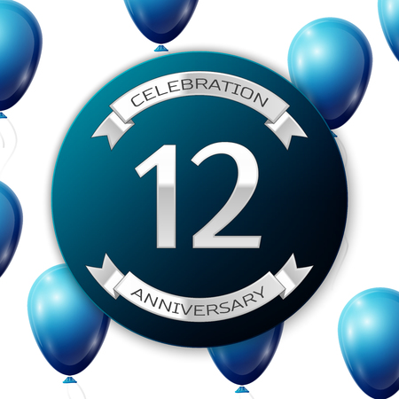 number twelve: Silver number twelve years anniversary celebration on blue circle paper banner with silver ribbon. Realistic blue balloons with ribbon on white background. Vector illustration. Illustration
