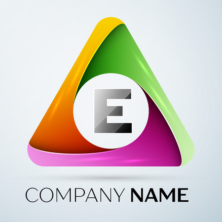 e business: Letter E vector logo symbol in the colorful triangle. Vector template for your design Illustration