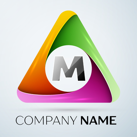 m: Letter M vector logo symbol in the colorful triangle. Vector template for your design