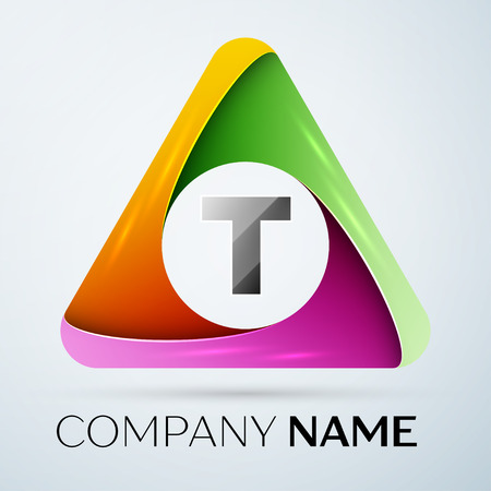 Letter T vector logo symbol in the colorful triangle. Vector template for your design Illustration