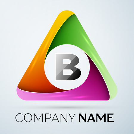 Letter B vector logo symbol in the colorful triangle. Vector template for your design Illustration