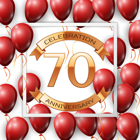 Realistic red balloons with ribbon in centre golden text seventy years anniversary celebration with ribbons in white square frame over white background. Vector illustration