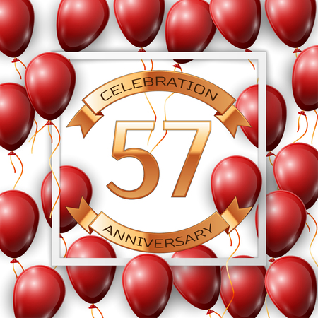 Realistic red balloons with ribbon in centre golden text fifty seven years anniversary celebration with ribbons in white square frame over white background. Vector illustration Vectores