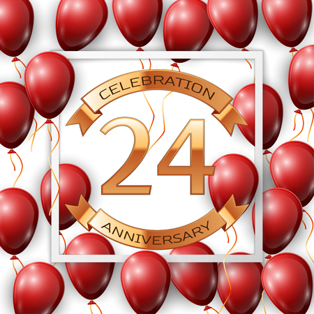 Realistic red balloons with ribbon in centre golden text twenty four years anniversary celebration with ribbons in white square frame over white background. Vector illustration Illustration
