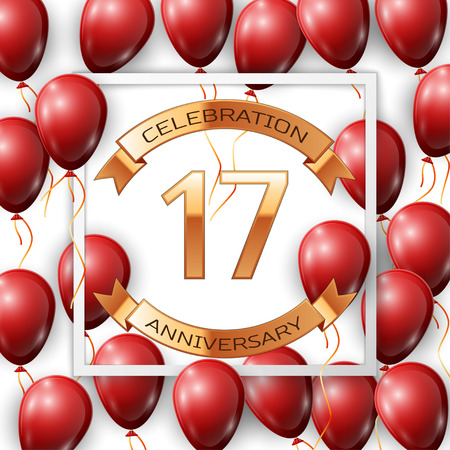 Realistic red balloons with ribbon in centre golden text seventeen years anniversary celebration with ribbons in white square frame over white background. Vector illustration Illustration