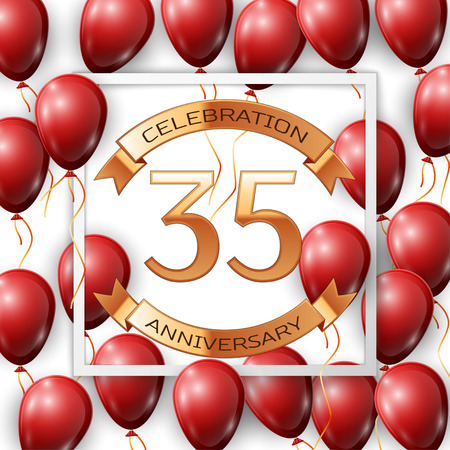 thirty five: Realistic red balloons with ribbon in centre golden text thirty five years anniversary celebration with ribbons in white square frame over white background. Vector illustration