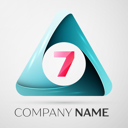 Number seven vector logo symbol in the colorful triangle on grey background. Vector template for your design