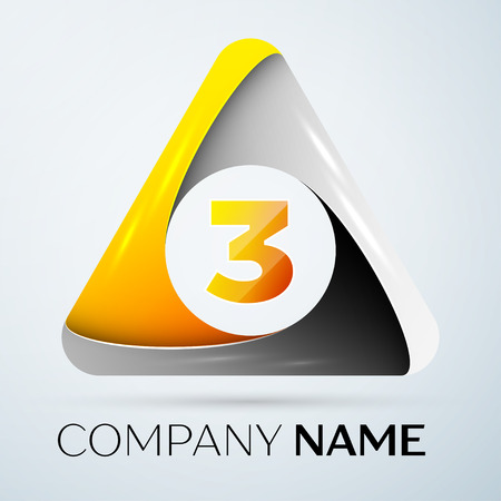 Number three vector logo symbol in the colorful triangle on grey background. Vector template for your design