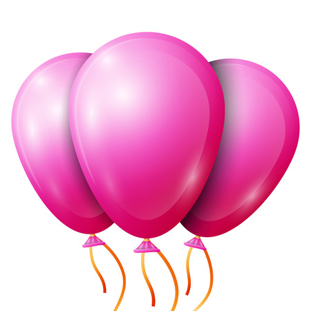 pink balloons: Realistic pink balloons with ribbon isolated on white background. Vector illustration of shiny colorful glossy balloons