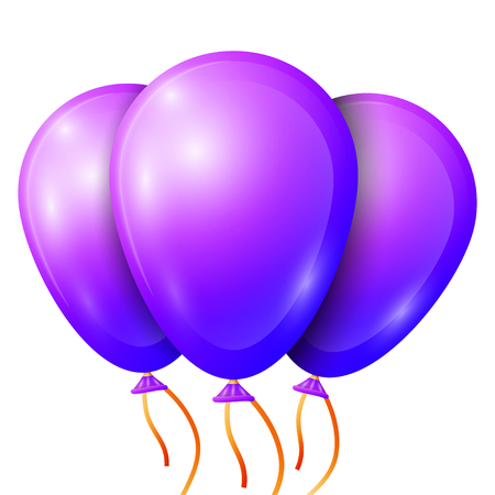 Realistic purple balloons with ribbon isolated on white background. Vector illustration of shiny colorful glossy balloons