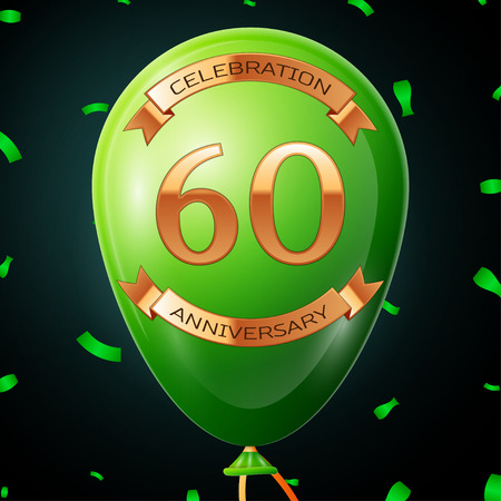 60th: Green balloon with golden inscription sixty years anniversary celebration and golden ribbons, confetti on black background. Vector illustration