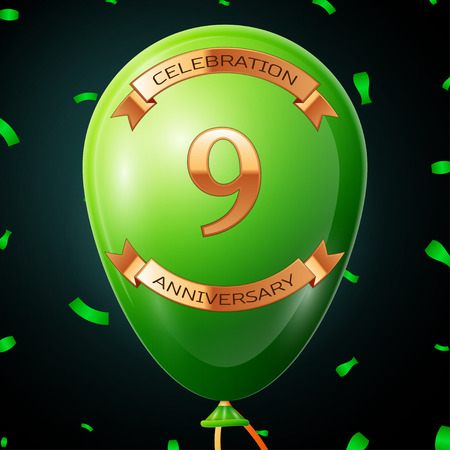anniversary card: Green balloon with golden inscription nine years anniversary celebration and golden ribbons, confetti on black background. Vector illustration Illustration