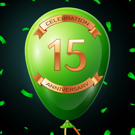 fifteen: Green balloon with golden inscription fifteen years anniversary celebration and golden ribbons, confetti on black background. Vector illustration