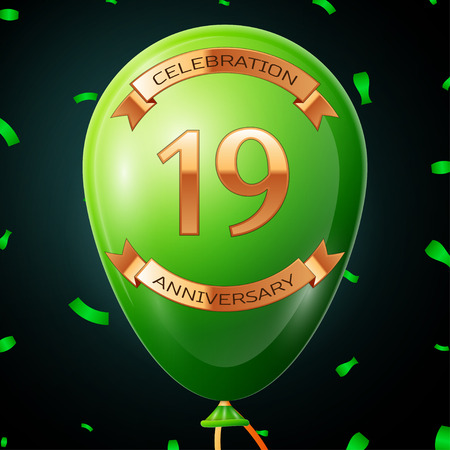 nineteen: Green balloon with golden inscription nineteen years anniversary celebration and golden ribbons, confetti on black background. Vector illustration