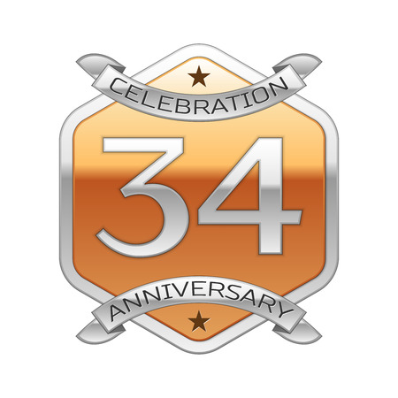 remembered: Thirty four years anniversary celebration silver logo with silver ribbon and golden hexagonal ornament on white background.
