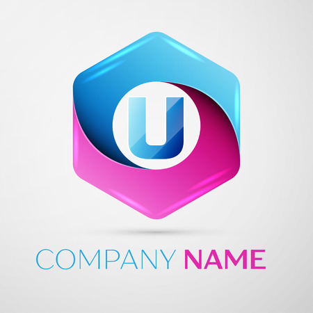 Letter U vector logo symbol in the colorful hexagonal on grey background. Vector template for your design