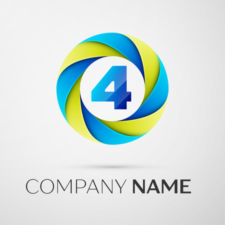 Number four vector logo symbol in the colorful circle on grey background. Vector template for your design Illustration