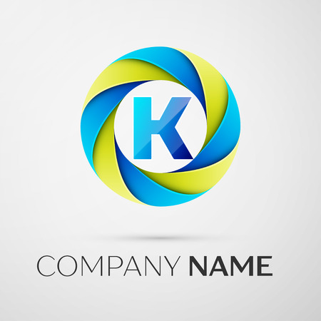 Letter K Vector Logo Symbol In The Colorful Circle On Grey