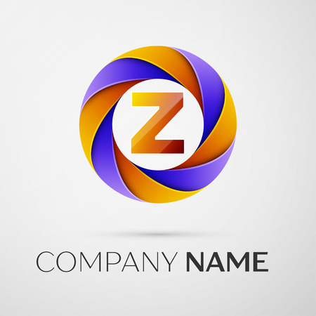 Letter Z vector logo symbol in the colorful circle on grey background. Vector template for your design