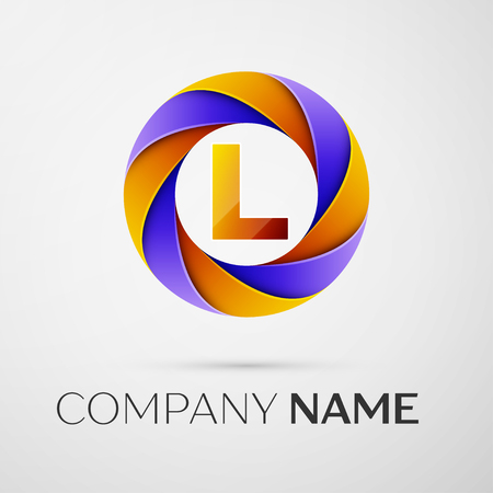 Letter L vector logo symbol in the colorful circle on grey background. Vector template for your design Illustration