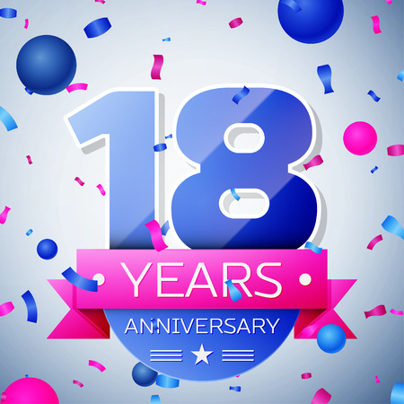 happy 18th birthday: Eighteen years anniversary celebration on grey background. Anniversary ribbon