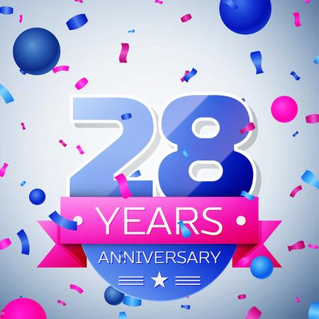Achtentwintig jaar jubileum op een grijze achtergrond. lint Anniversary