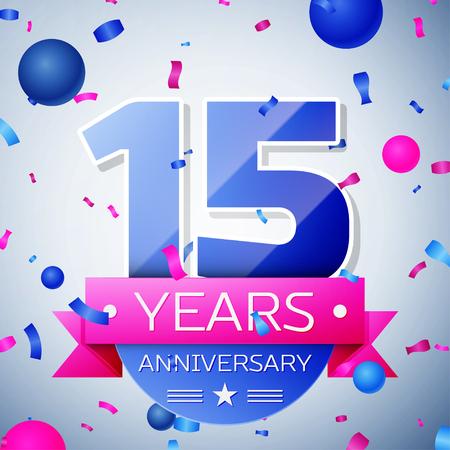 fifteen: Fifteen years anniversary celebration on grey background. Anniversary ribbon
