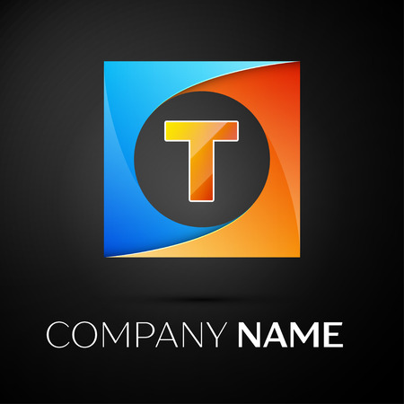 t square: Letter T vector logo symbol in the colorful square on black background. Vector template for your design