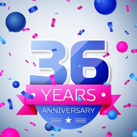 36: Thirty six years anniversary celebration on grey background. Anniversary ribbon