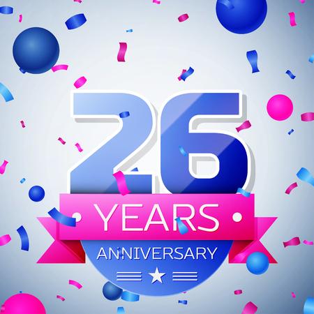 twenty six: Twenty six years anniversary celebration on grey background. Anniversary ribbon