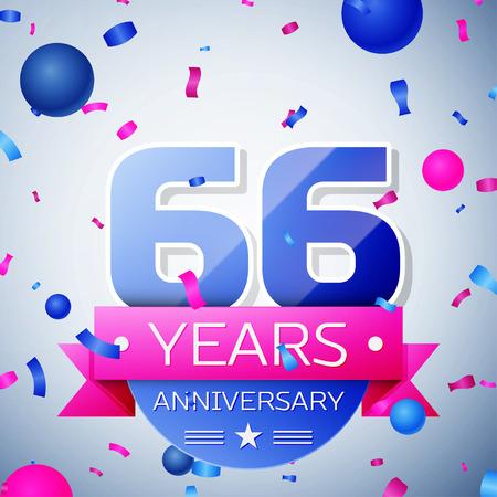 sixty six: Sixty six years anniversary celebration on grey background. Anniversary ribbon Illustration
