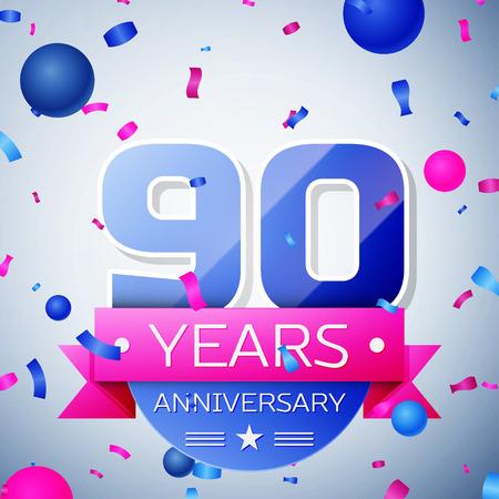 90th: Ninety years anniversary celebration on grey background. Anniversary ribbon