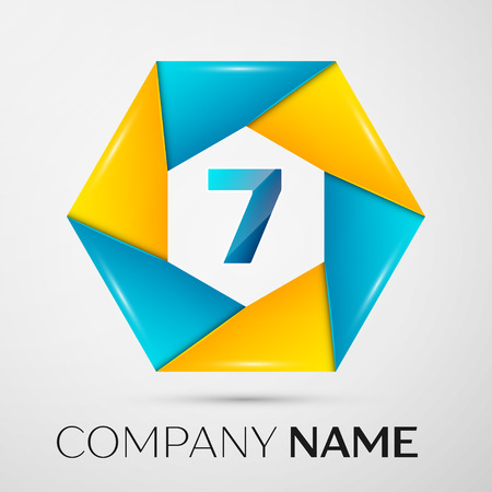 Number seven vector logo symbol in the colorful circle on grey background. Vector template for your design