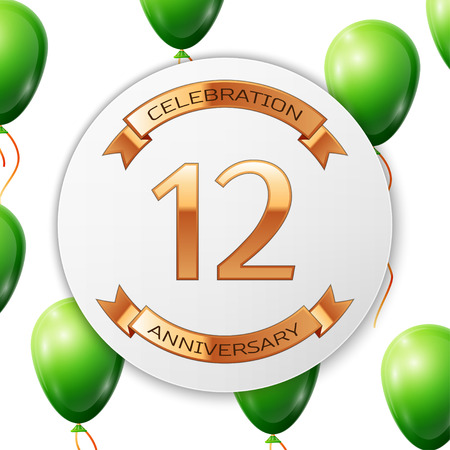 Golden number twelve years anniversary celebration on white circle paper banner with gold ribbon. Realistic green balloons with ribbon on white background. illustration.