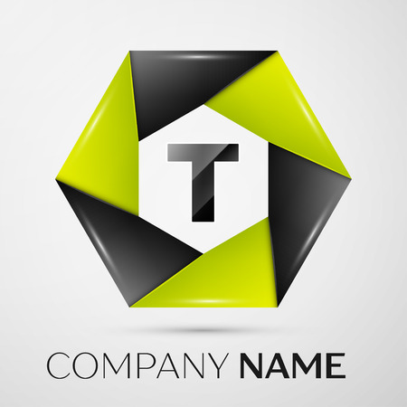 Letter T  symbol in the colorful circle on grey background. template for your design