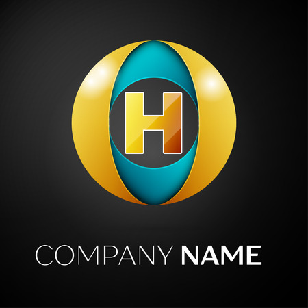 abstract letters: Letter H vector logo symbol in the colorful circle on black background. Vector template for your design