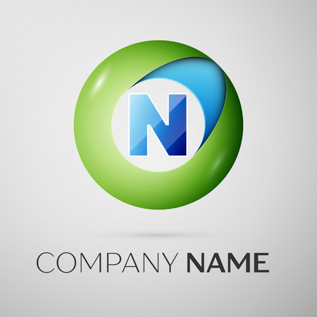 Letter N vector logo symbol in the colorful circle on grey background. Vector template for your design Illustration