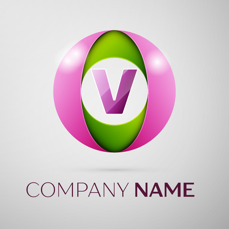 Letter V vector logo symbol in the colorful circle on grey background. Vector template for your design Illustration