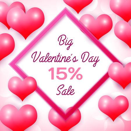 fifteen: Big Valentines day Sale 15 percent discounts with pink square frame. Background with red balloons heart pattern. Wallpaper, flyers, invitation, posters, brochure, banners. Vector illustration. Illustration