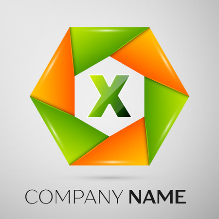 Letter X vector logo symbol in the colorful circle on grey background. Vector template for your design Illustration