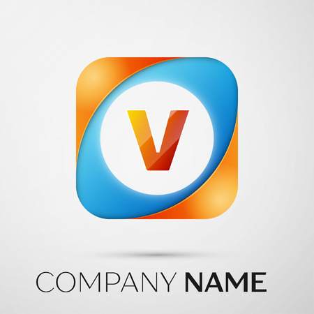 Letter V vector logo symbol in the colorful square on grey background. Vector template for your design Illustration