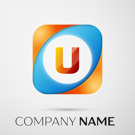 Letter U vector logo symbol in the colorful square on grey background. Vector template for your design Illustration