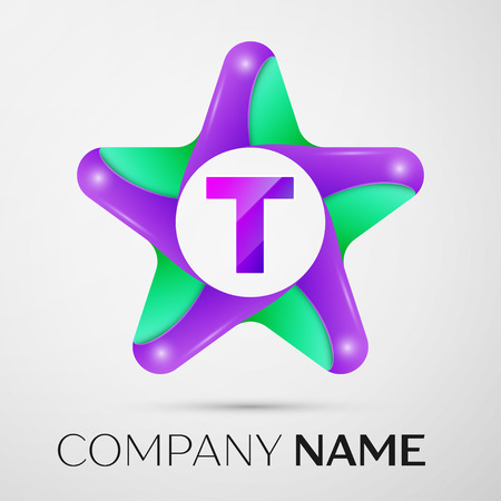 Letter T vector logo symbol in the colorful star on grey background. Vector template for your design Illustration
