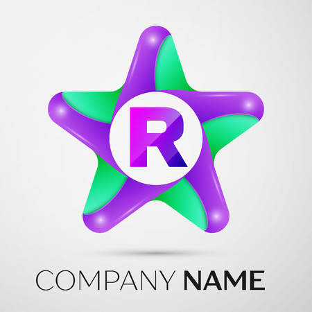 Letter R vector logo symbol in the colorful star on grey background. Vector template for your design Illustration