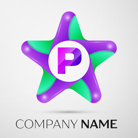Letter P vector logo symbol in the colorful star on grey background. Vector template for your design Illustration