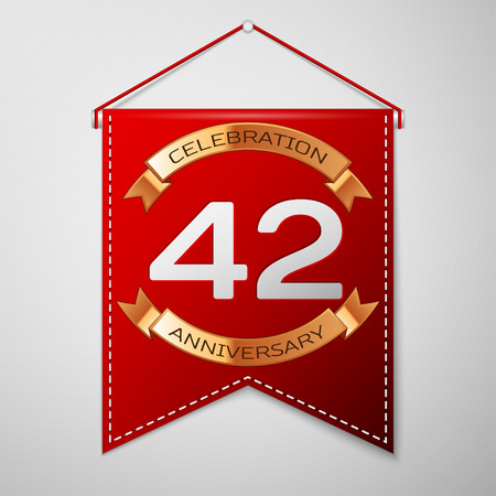 Red pennant with inscription Forty two Years Anniversary Celebration Design over a grey background. Golden ribbon. Colorful template elements for your birthday party. Vector illustration