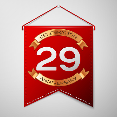 Red pennant with inscription Twenty nine Years Anniversary Celebration Design over a grey background. Golden ribbon. Colorful template elements for your birthday party. Vector illustration Illustration