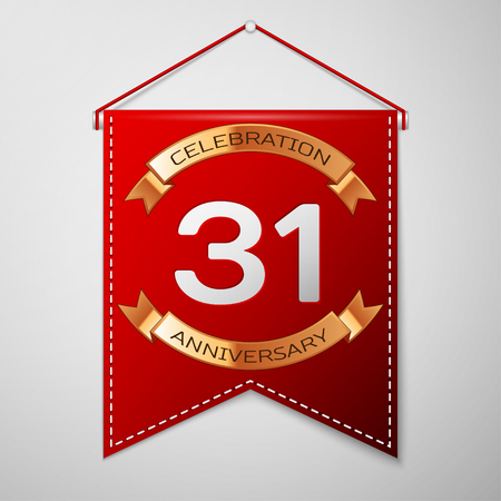 31th: Red pennant with inscription Thirty one Years Anniversary Celebration Design over a grey background. Golden ribbon. Colorful template elements for your birthday party. Vector illustration